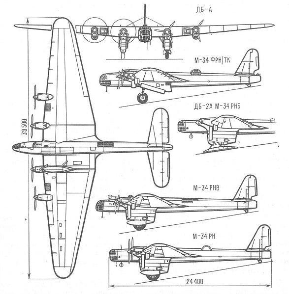 Vista de plano del bombardero DB de la unión soviética